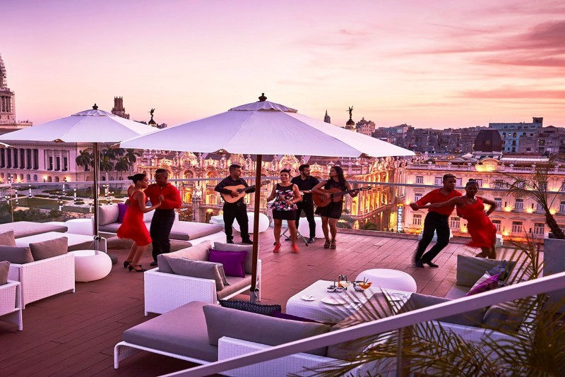 Kempinski Hotel Havana rooftop pool terrace live music and dancers