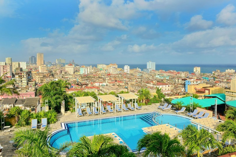 Iberostar Parque Central Havana aerial view of rooftop pool