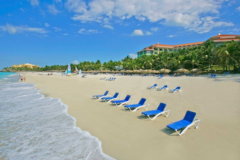 Melia Las Americas Sunbeds On Beach