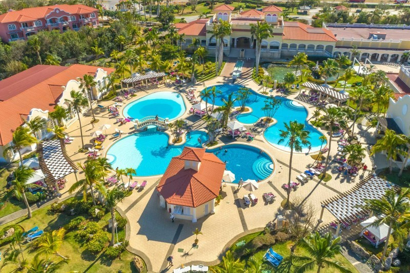 Paradisus Princesa del Mar Aerial View Of Main Hotel Swimming Pools
